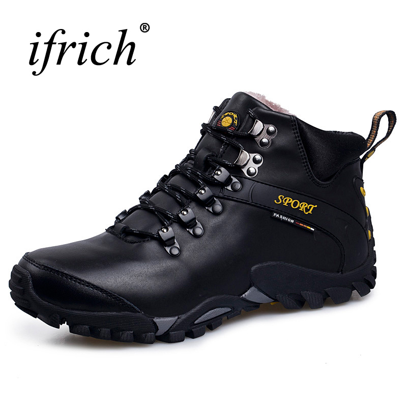 2017 Hot Sell Winter Hiking Shoes Men Outdoor Boots Black Brown Leather Mountain Climbing Sneakers Winter Warm Army Boots Men yin qi shi man winter outdoor shoes hiking camping trip high top hiking boots cow leather durable female plush warm outdoor boot