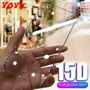 15D واقية الزجاج المقسى على ل فون 6 6 s 7 8 زائد X 10 الزجاج واقي للشاشة لينة حافة منحني ل فون XR XS ماكس