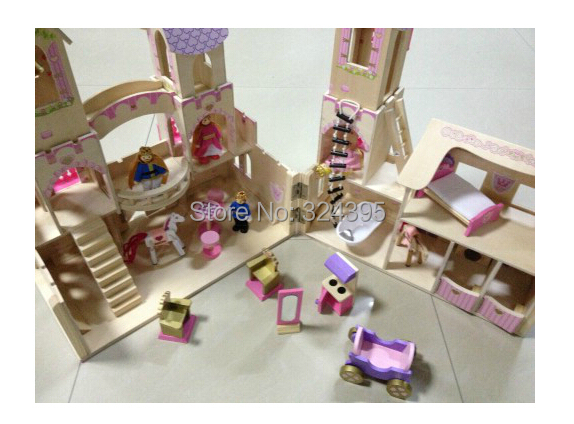 Girls Pretend Play Toy Wooden Princess Castle Doll House Baby Birthday Gift Only Sent To Russia
