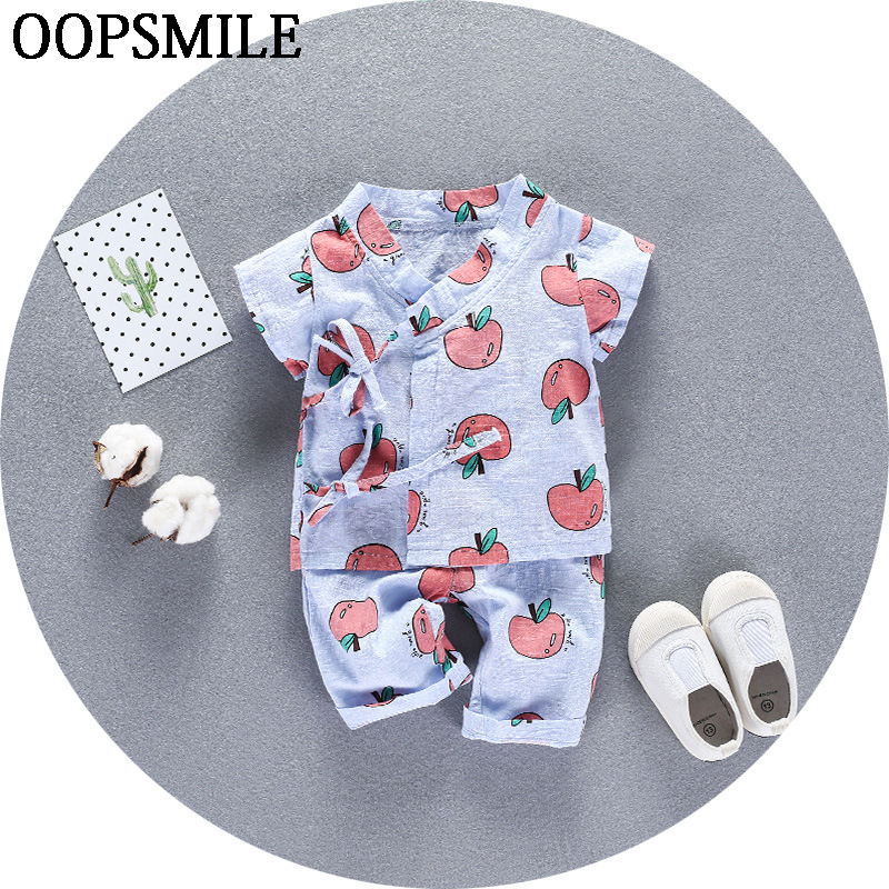 2017 Summer newborn clothing cartoon apple cotton infant underwear baby boys girls suits set 2pcs clothes for newborn infant baby girls boys spring short sleeves cotton clothes suit 2 pcs baby unisex cartoon casual strapped clothing set