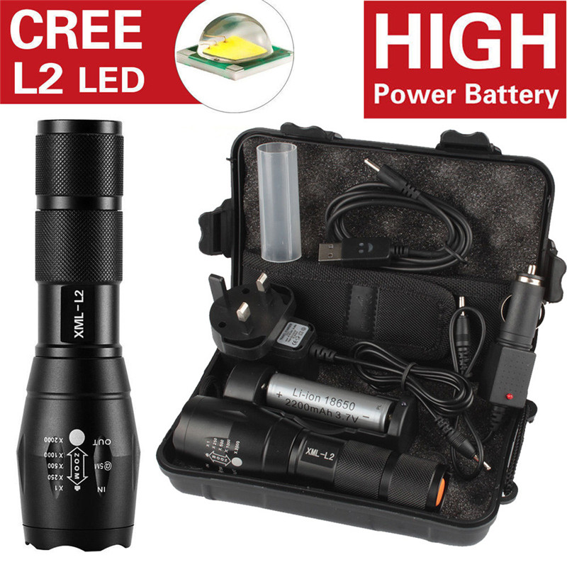 6000LM Shadowhawk X800 CREE L2 LED ZOOM Flashlight Torch Kit Powerful battery Car Charger Cycling Bicycle Bike Front Head Light