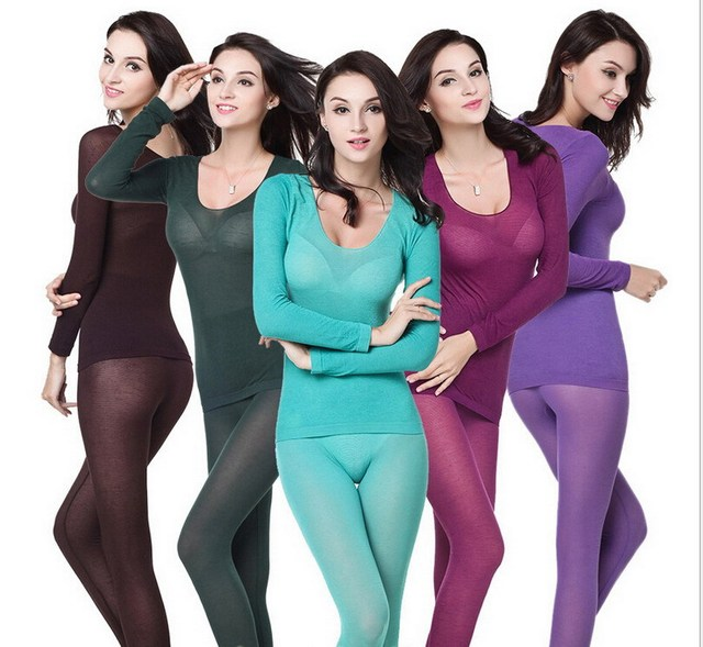 0817b5abc3 Women thermal underwear women seamless thin casual long johns red black  blue slim warm bodysuit clothing set intimates lingerie