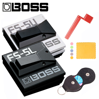 Boss Fs-5U FS-5L Nonlatching Footswitch / Metal Footswitches Bundle with Picks, Pickbag, Polishing Cloth and Strings Winder