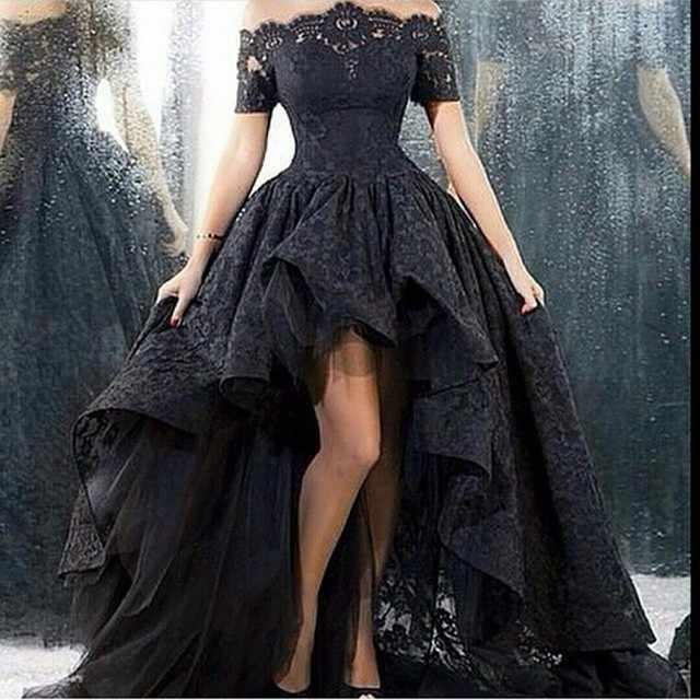 SHJ348 черное платье Vestido De Noiva 2019 готическое свадебное платье бальное платье с коротким рукавом Кружевное Свадебное платье Готическая лодка Ncek свадебное платье