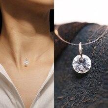 Creative fashion womens transparent fish line necklace silver invisible chain pendant rhinestone