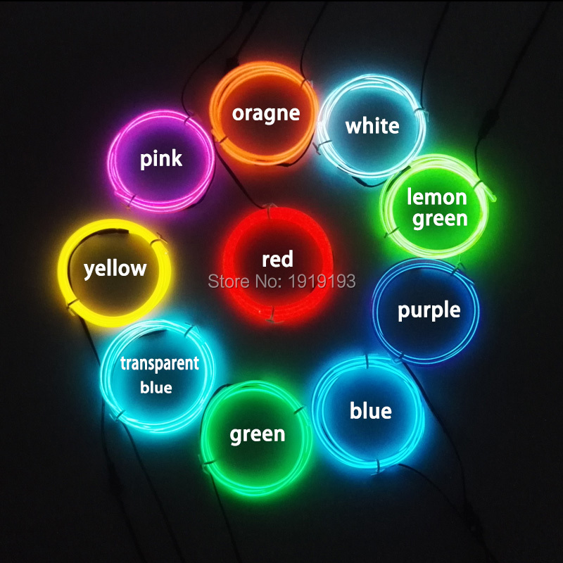 3.2mm multicolor ELectroluminescent wire flexible Neon glowing light LED Strip With 3V inverter for Toy/Craft party Decoration