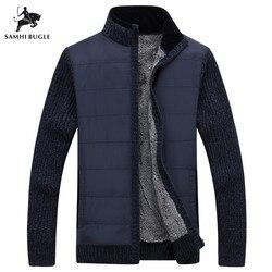 Suéter de marca para hombre, 2019, Nuevo Jersey de invierno para hombre, chaqueta de cuello alto militar verde, cárdigan de lana gruesa para hombre