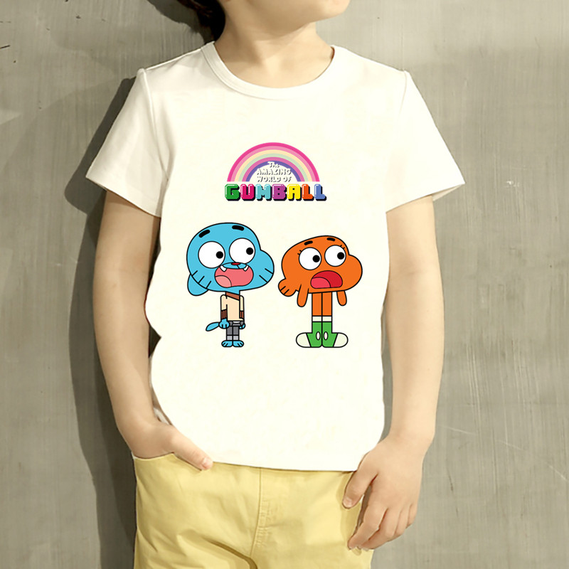 цена на Kids The Amazing World Of Gumball Cartoon Design T Shirt Boys/Girls Great Casual Short Sleeve Tops Children Cute T-Shirt,HKP5125