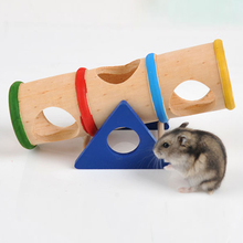 1PCS Colorful Wood Hamster Seesaw Tube Tunnel Cage House Hide Play Small Pet Toy Funny Toys