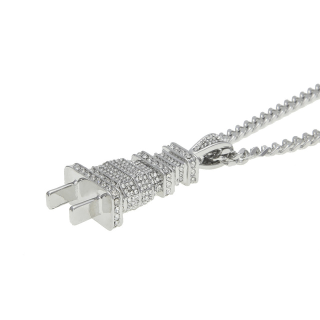 Hip Hop Gold Silver Rhinestone Electrical Plug Chains Bling Iced Out Jewelry Gifts Men Women Crystal Necklaces Choker 2C0205 5