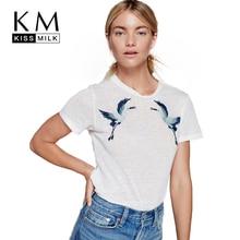 Kissmilk Plus Size Women Basic Twin Cranes Embroidery Loose White T Shirt Causal Chic Crew Neck Short Sleeve Tops Tees 3XL-7XL цена