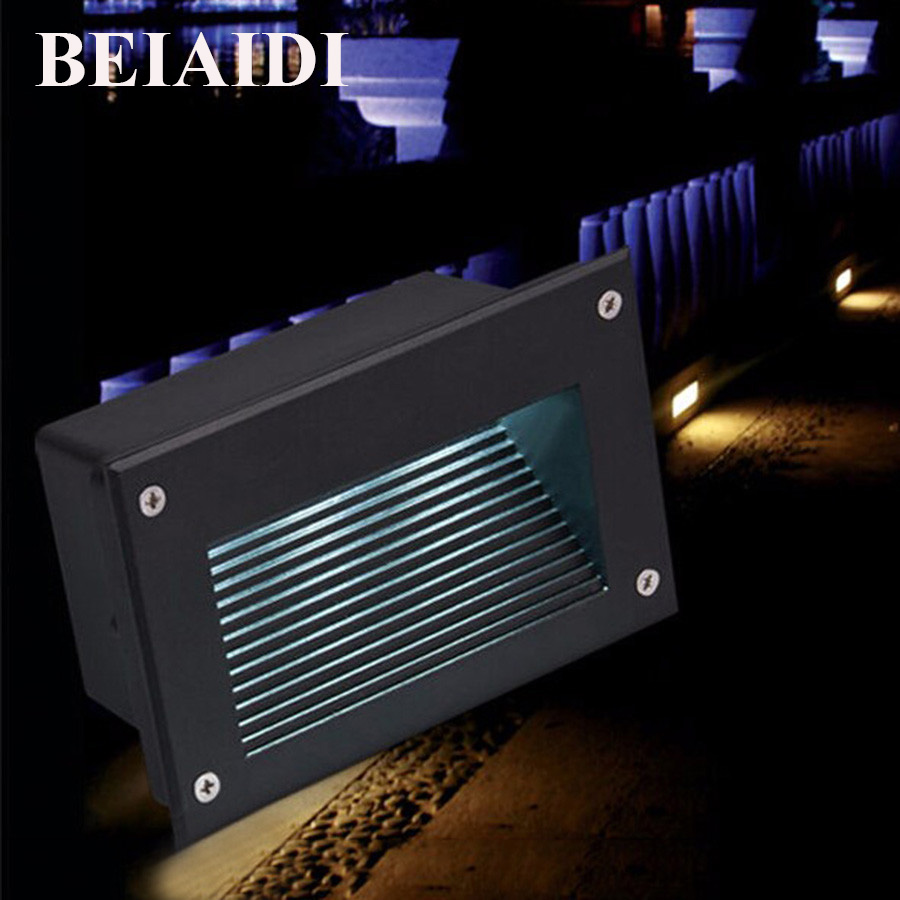 BEIAIDI 10pc 148X72MM LED Step Light Footlights 3W 5W Waterproof Embedded Staircase Corner Lamp Outdoor Recessed