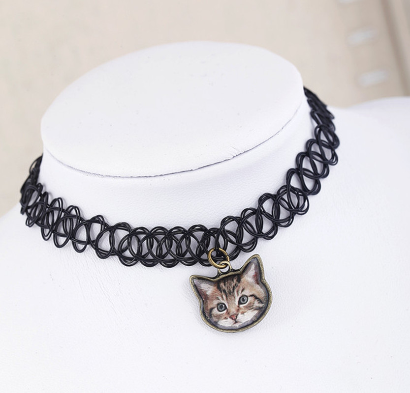 New Design Elastic Fishing Crochet Necklace Cat pendant necklace Creative Keepsake Memorial Day Necklace For Friend