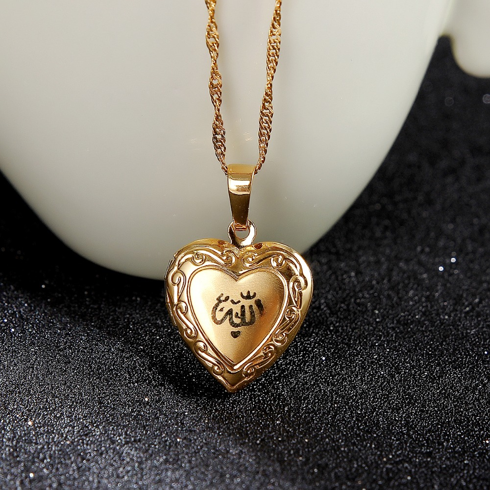 Image 4 - Heart allah pendant Jewelry For Women 24K Gold Color Muslim Heart