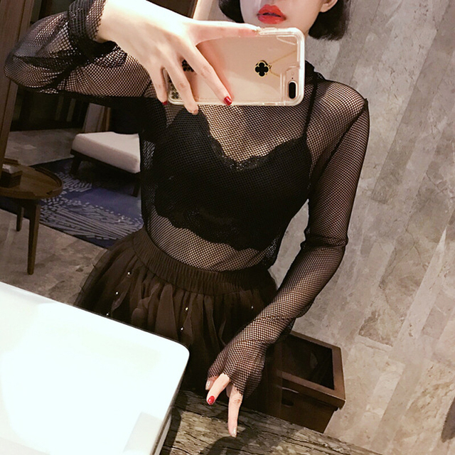 [CHICEVER] 2017 Spring Long Sleeve Sexy Fishnet Perspective Mesh Turtleneck T-shirt Women New Fashion Clothing
