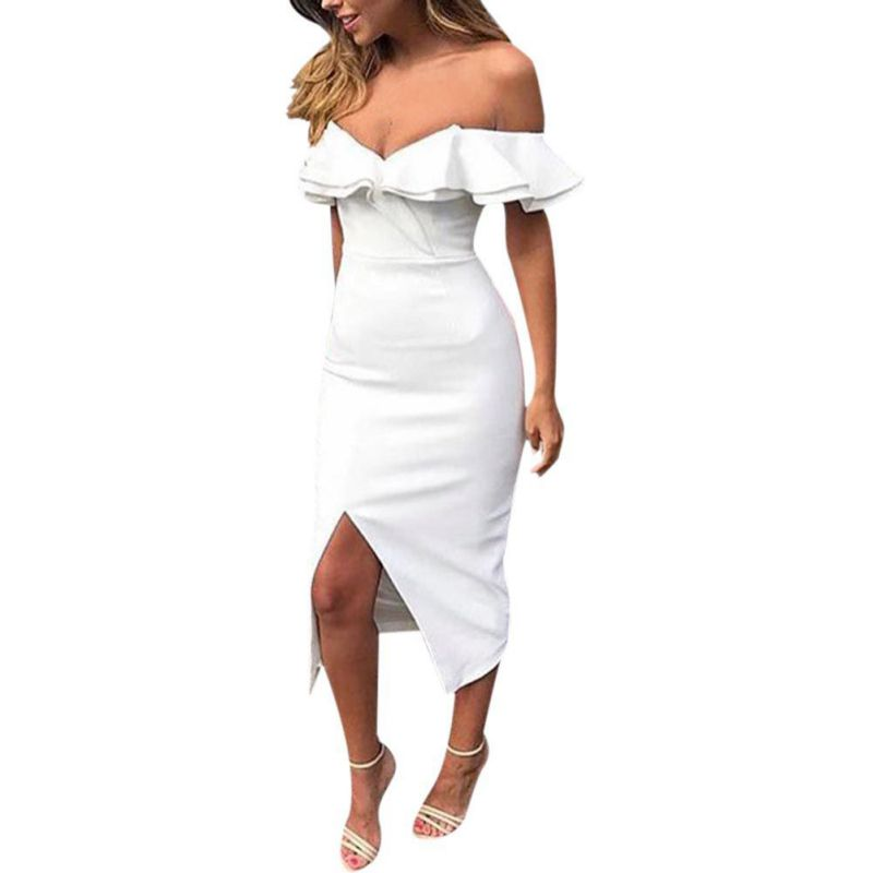 Ruffles Wrapped Split <font><b>Bodycon</b></font> Dress Chest <font><b>Off</b></font> <font><b>Shoulder</b></font> <font><b>Sexy</b></font> <font><b>Club</b></font> Women <font><b>Elegant</b></font> Midi <font><b>Party</b></font> Sheath Dress Yellow Black White <font><b>2018</b></font> image