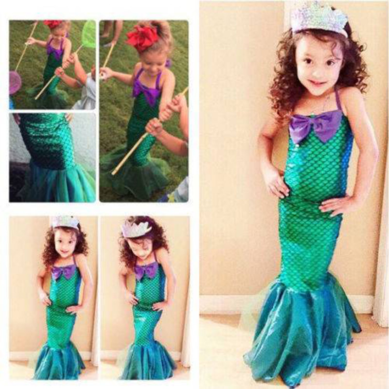 Cosplay Costume Outfits Mermaid-Dress Children Clothes Girl Toddler Little Party Kid