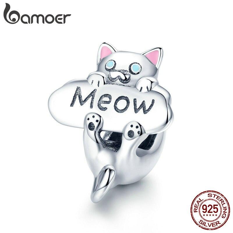 BAMOER genuino 925 plata esterlina gato malo cuentas gato Animal encanto fit pulsera del encanto de la joyería de DIY hacer regalo SCC874