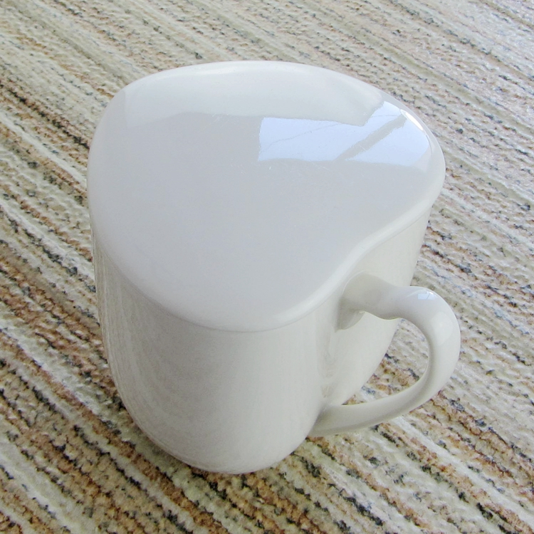 heart-shaped mug cup with lid love glass ceramic heart 350ml mug coffee cup gift cup ceramic heart cup lid white