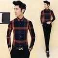 Camisa xadrez homens 2016 marca primavera festa vintage negócios camisa do clube para Os Homens Coreano Slim Fit Camisas Dos Homens Camisa Xadrez De Manga Longa