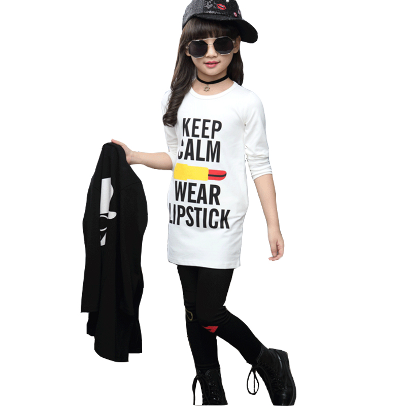 2017 spring autumn brand kids clothing set girls three piece toddler cotton print suit 10 16 year old girl coat pants set kids brand spring autumn girl set three piece vetement enfant toddler kids clothes minnie next baby suit ropa mujer children clothing