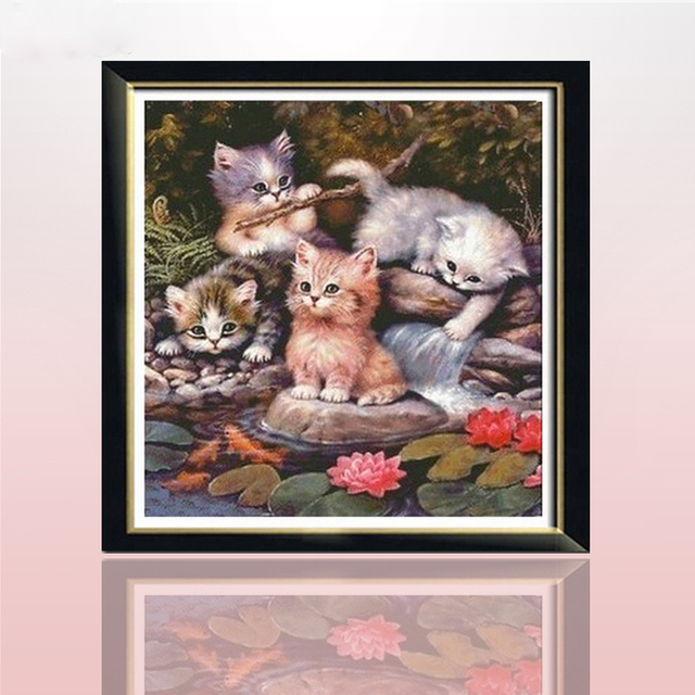 Diy Diament Haft 3d Z Pełnym Układ Kwadratowy Obraz Kot Diament