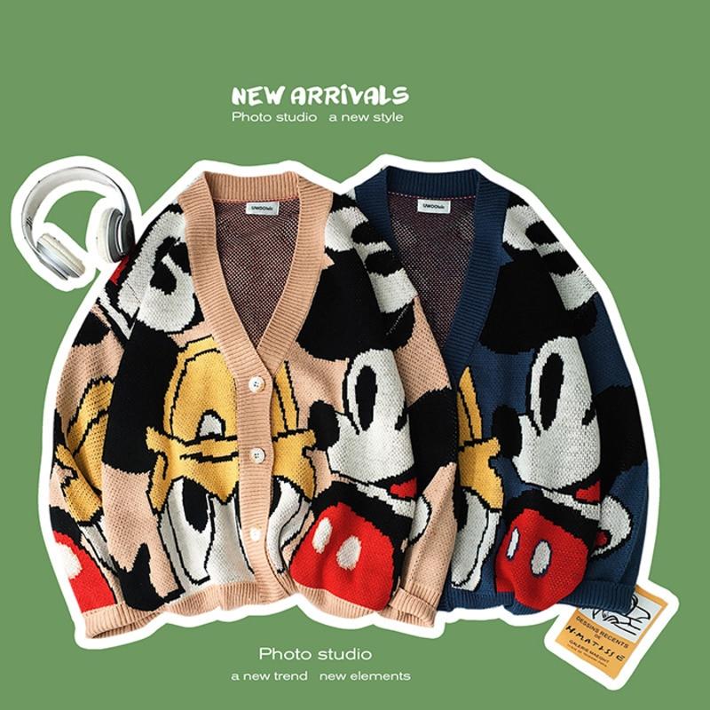 2019 Autumn New Korean Men's Japanese Cotton Loose Original Mickey Mouse Tang Laoka Cardigan Sweater