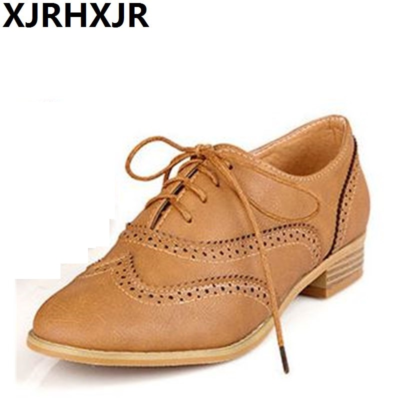 XJRHXJR Large Size 34-43 2018 Leather Women Shoes British Lace up Flat Heels Round Toe Yellow Black Oxfords Women Casual Shoes xjrhxjr women s lace up high heels women pumps british style leather shoes thick heel round toe platform casual shoes for girls