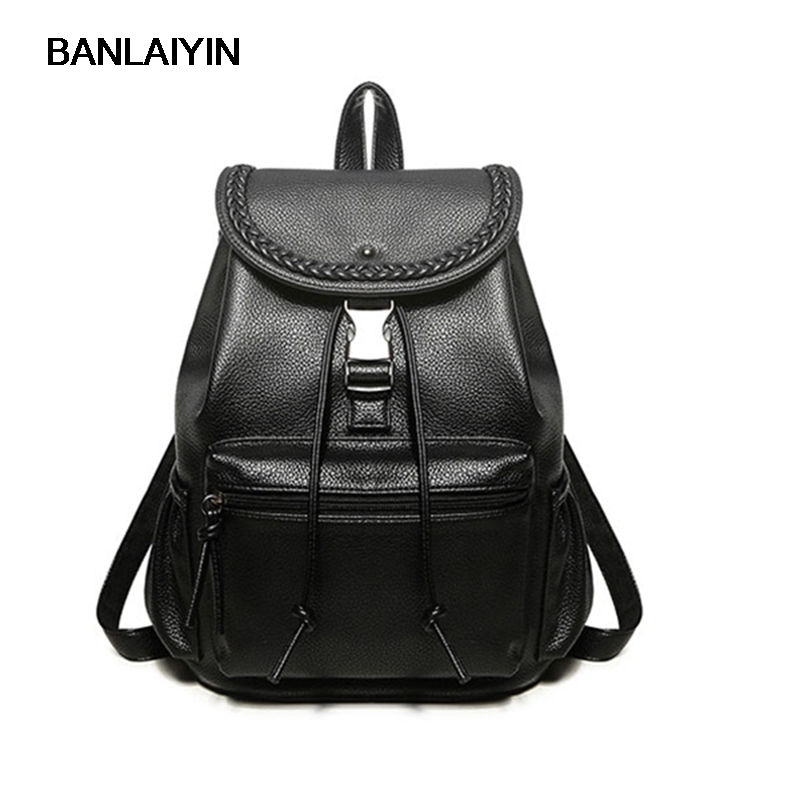 Nice pop New Casual Women Backpack Female PU Leather Bags Women Backpacks Black Bagpack Bags Girls