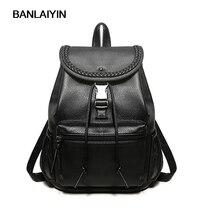 Хороший поп-Новая повседневная женская рюкзак женский PU кожаные сумки женские рюкзаки черный Bagpack Сумки для девочек элегантный дизайн сумка Back Pack