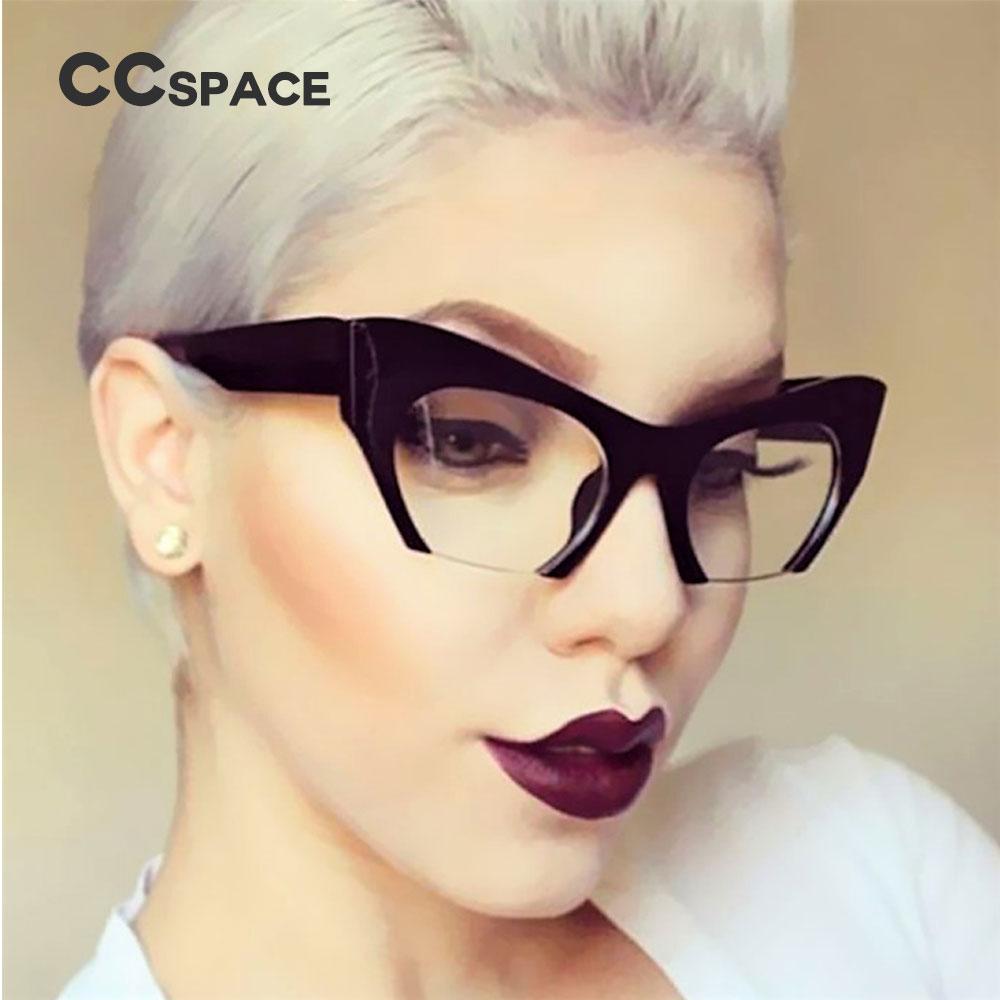 Ccspace Ladies Small Half Frame Cat Eye Glasses Frames