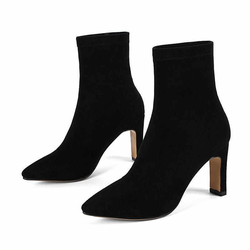 MORAZORA 2018 nowy jesień zima kwadratowy obcas kozaki zamszowe modne buty wsuwane wysoki obcas kobiet buty pointed toe kostki buty