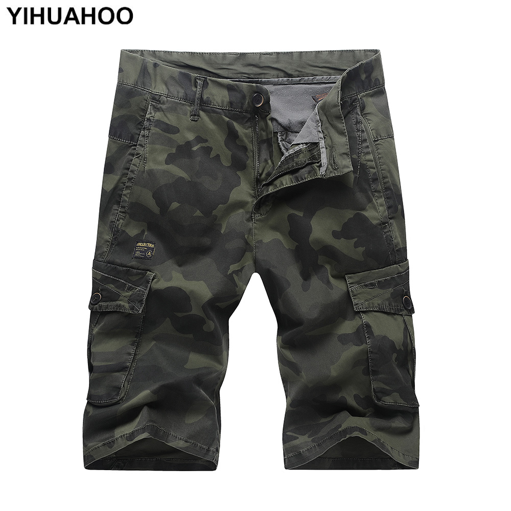 YIHUAHOO Summer Men Shorts Knee Length Camouflage Cotton Bermuda Short Pants Casual Military Cargo Shorts With Pockets QS-AK1009