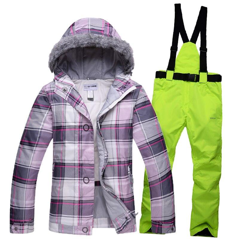 Prix pour Combinaison de Ski Veste et Pantalon Ensemble Étanche Chaud-30 Degrés En Plein Air vêtements Livraison Gratuite Femmes de veste D'hiver