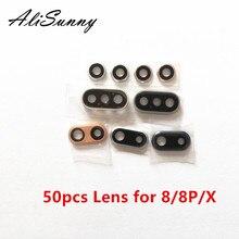 AliSunny 50 adet geri kamera lensi için iPhone 8 artı X XR XS Max XSM arka Cam kapak zil çerçeve kapak contası cam lens dirsek parçaları
