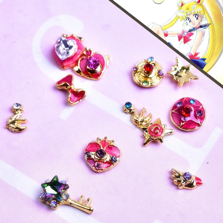 20pcs 3D alloy Nail art Decoration beautiful girl warrior weapons Magic stick series nail Accessories retro Manicure Charms