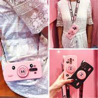3d camera pig shoulder strap silicone case For huawei Mate 20 10 pro lite P20 pro lite honor 10 lite 7A pro Y6 prime Y9 2018 201