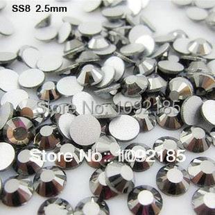 strass hotfix rhinestones ss8 1440pcs/pack 2.4-2.5mm wholesale hematite color falt back rhinestone crystal nail art rhinestones modamostra strass 2384 прозрач