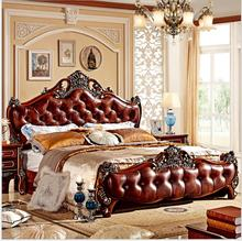 modern european solid wood bed Fashion Carved  1.8 m bed  french bedroom furniture 75844 furniture bedroom double box solid wood simple bed