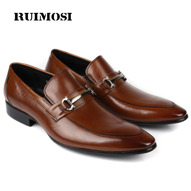 RUIMOSI Luxury Designer Dress Shoes Formal Brand Genuine Leather Loafers Men's Pointed Toe Slip on Handmade Flats For Male CA70