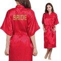 Equipo de Oro de Impresión Brillo novia Kimono Bata de Seda Del Faux Larga Sección Mujer Soltera Preparewea Boda Batas Envío Fre