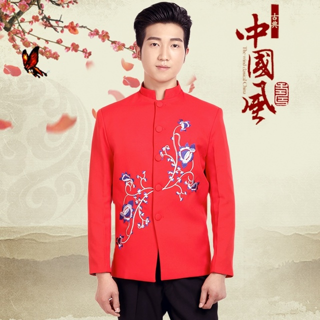 Chinese men's new red tunic embroidered wedding dress and groom toast clothing costume stage performance clothing Moderator