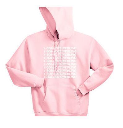 Unisex 1-800 Hotline Bling Drake light pink Sweatshirt Hoodies Women/Men autumn Hooded Pink Pullover Hipster Outfits Oversize