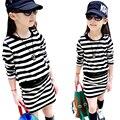 2016 spring new  children's clothing baby causal stripes package hip long-sleeved girl dress for girls kids princess dresses