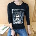 2017 spring casual men's t shirts long sleeve o neck 3D print cotton t shirts M-5XL Free shipping