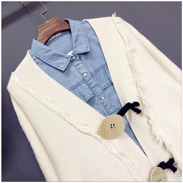 HSA Women Sweater and Cardigans 2018 Autumn Korean Fashion Tassel Knit Cardigans Jackets Big Button Oversize Sweater Coat