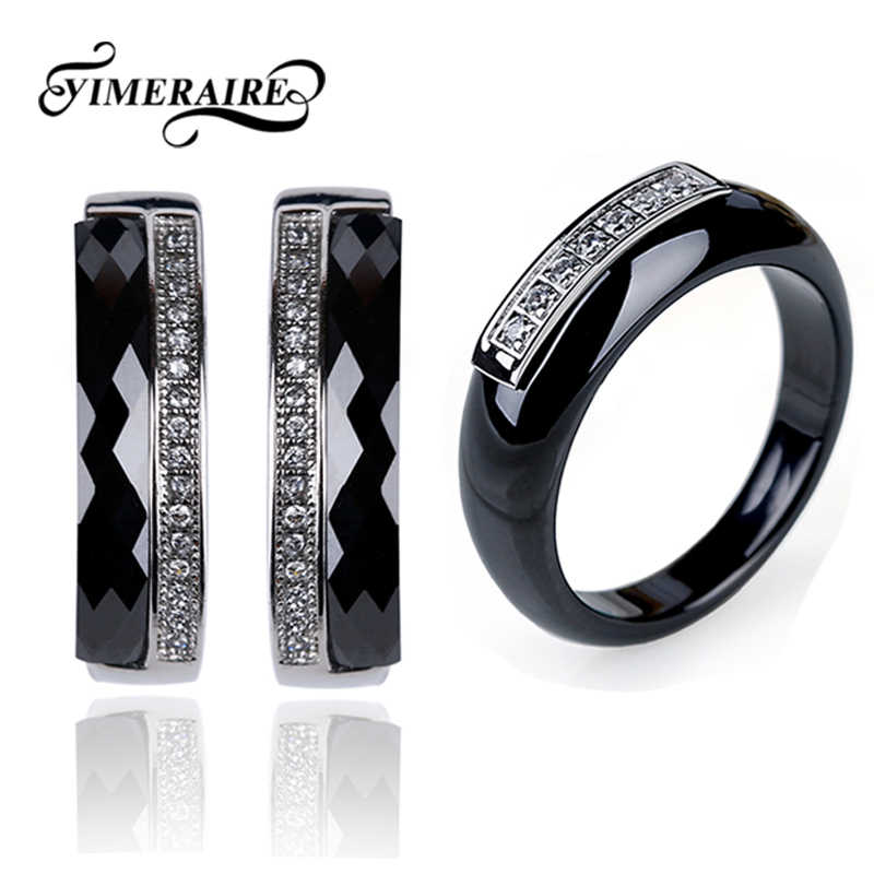 Elegant Black Ceramic Rings Women CZ Stone U Shaped Earrings Classic Fashion Jewelry Set Top Quality Healthy Material For Lady