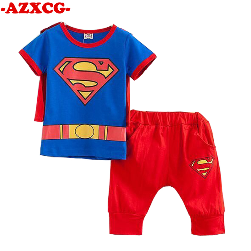 2 3 4 5 6 Years Boys Girls Superman Clothing Set Kids Short-sleeved Tshirt + Cropped Pants+ Cloak Suit Boy Girl Summer Clothes