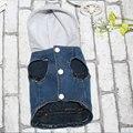 Animal de estimação Do Gato Do Cão Roupas Jaqueta Jeans Personalizado Calças de Brim Colete de Pelúcia com Chapéu