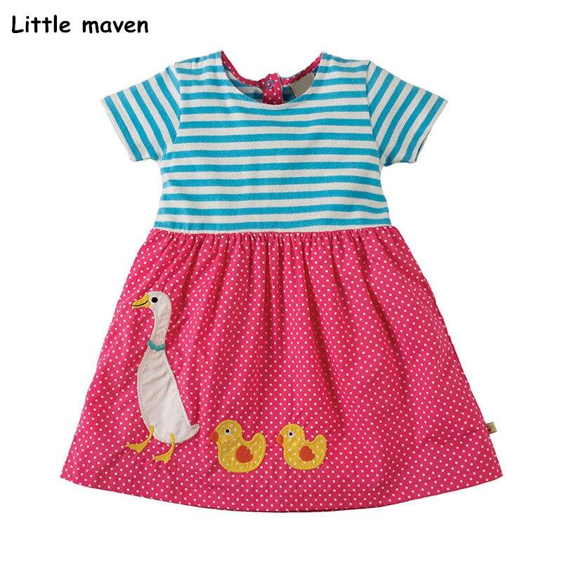 Little maven 2018 new summer baby girls brand dress kids Cotton duck applique short sleeve dresses S0332 jessica simpson little girls kenzie graphic with pleather sleeve